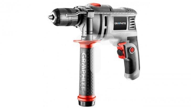 Wiertarka udarowa 650W, 0-3000obr/min 13mm, uchwyt bezkluczykowy, walizka 10 wierteł 58G736