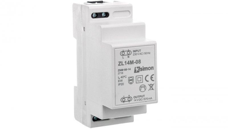 Simon 54 Zasilacz LED modułowy 14V DC 8W ZL14M-08