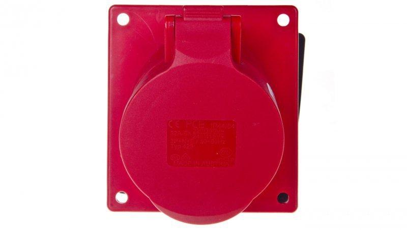 Gniazdo tablicowe skośne 32A 5P 400V /100x97/ czerwone IP44 425-6f9