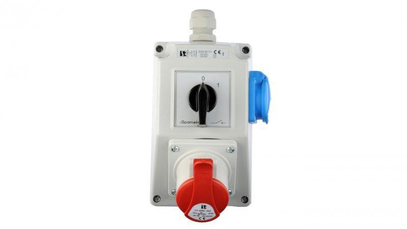 Zestaw instalacyjny z gniazdem 16A 4P+2P+Z (0-1) czerwony ZI03R111