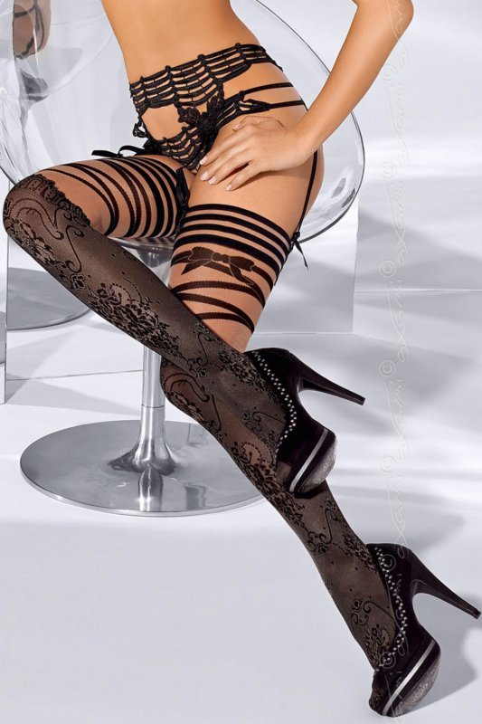 Pończochy Model V-5204 French kiss Black/Beige - Axami