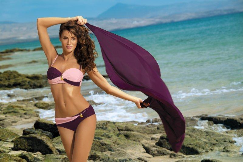 Kostium Kąpielowy Liliana Vigneto-Rosa Confetto M-259 Bakłażan z lekkim różem (14)