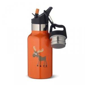 Butelka termiczna ze słomką ze szlachetnej stali nierdzewnej - Pomarańczowy Łoś