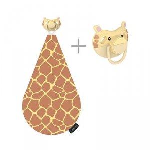 3 w 1 smoczek z gryzakiem + kocyk przytulanka -  Żyrafa Gerry
