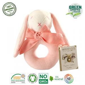 Grzechotka Organiczna Miękka - Różowy Królik