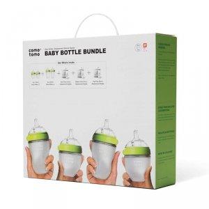 COMOTOMO - 4 Antykolkowe butelki silikonowe MOM'S BREAST Green BUNDLE