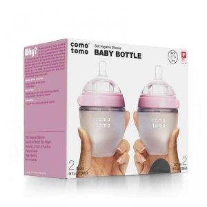 COMOTOMO - 2 antykolkowe butelki silikonowe MOM'S BREAST 150 ml Pink NEWBORN Wiek: 0+