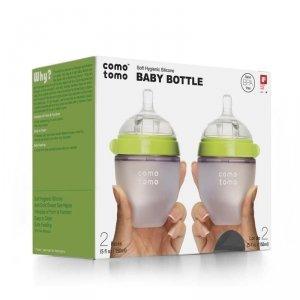 COMOTOMO - 2 antykolkowe butelki silikonowe MOM'S BREAST 150 ml Green NEWBORN 2 pack Wiek: 0+