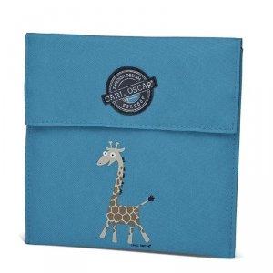 Torebka termiczna na kanapki dla dziecka Niebieska - żyrafka