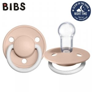 Smoczek uspokajający dla dziecka silikonowy - BIBS DE LUX BLUSH NIGHT ONE SIZE