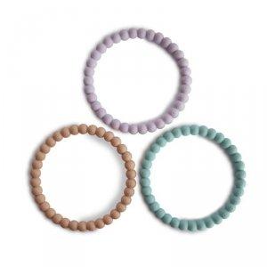 Silikonowe bransoletki gryzaki dla dziecka PERŁA Lilac Cyan Soft Peach - Mushie - 3szt.