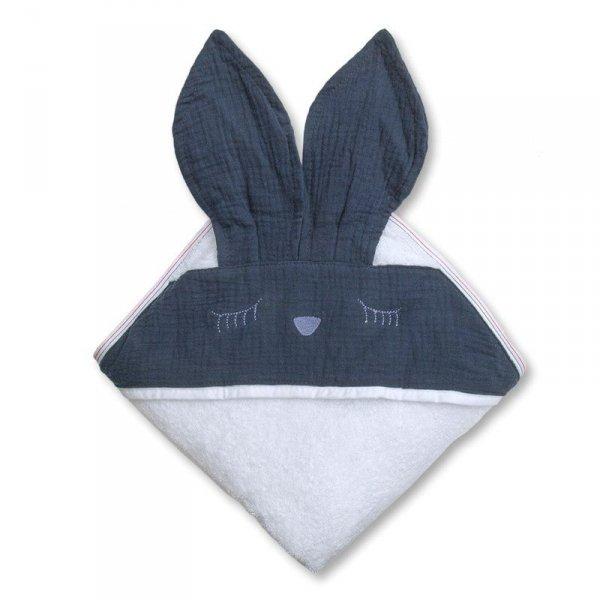 Ręcznik z kapturkiem dla niemowlaka śpiący króliczek w kolorze niebieskim 100/100