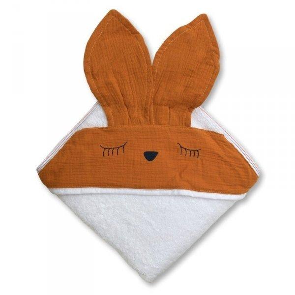 Hi Little One - Ręcznik z kapturkiem 100 x 100 SLEEPY BUNNY hooded bath towel Apricot