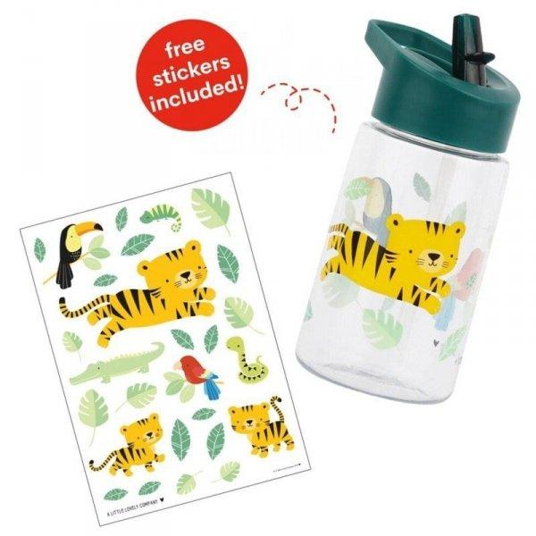 Bidon transparentny ze składanym ustnikiem - Tygrysek z naklejkami