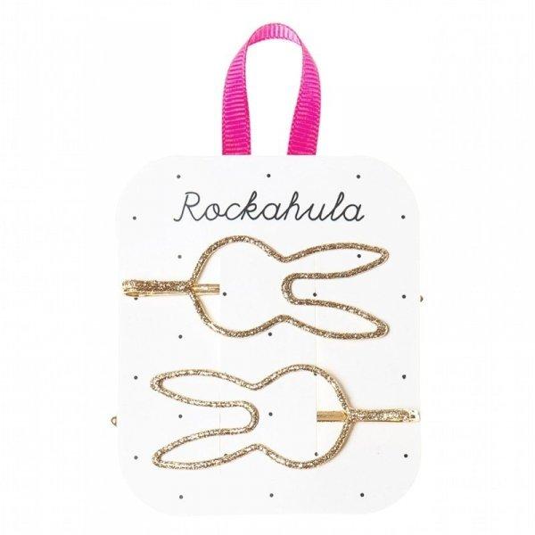 Rockahula Kids - wsuwki do włosów dla dziewczynki Glitter Bunny Gold
