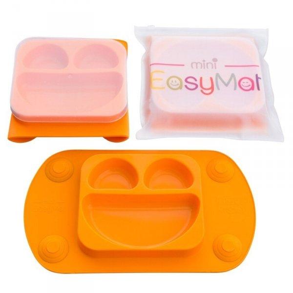 EasyTots - EasyMat Mini 2in1 ORANGE silikonowy talerzyk z podkładką - lunchbox