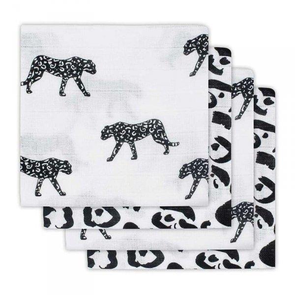 Jollein - 4 pieluszki niemowlęce Hydrophlic 70 x 70 cm Leopard Black and White