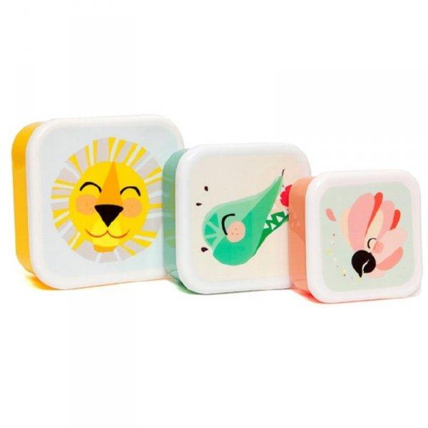 Zestaw 3 śniadaniówek-  lunchbox  - Lew, Papuga i Krokodyl