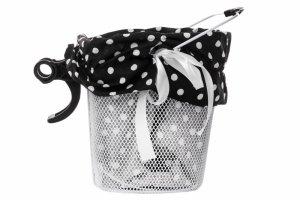 Wkładka do koszyka materiałowa, czarna w białe kropki
