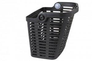 Koszyk rowerowy na kierownicę - plastikowy na KLIP - uchwyt do noszenia - 36x25x27cm - czarny