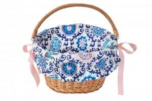 Wkładka do koszyka materiałowa, GRECKA biało-niebieski wzór