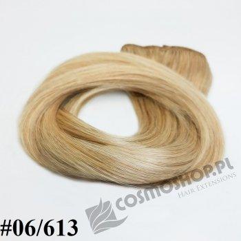 Zestaw Clip-in, długość 55 cm kolor balejaż #06/613 -JASNY BRĄZ / JASNY BLOND 135g