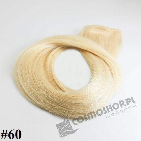 Zestaw Clip-in, długość 55 cm kolor #60 -BARDZO JASNY BLOND- 135g