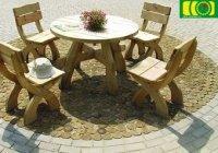Komplet masywnych mebli drewnianych stół okrągły