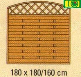 L23 płot lamelowy z jednym łukiem oraz kratką (180x180)