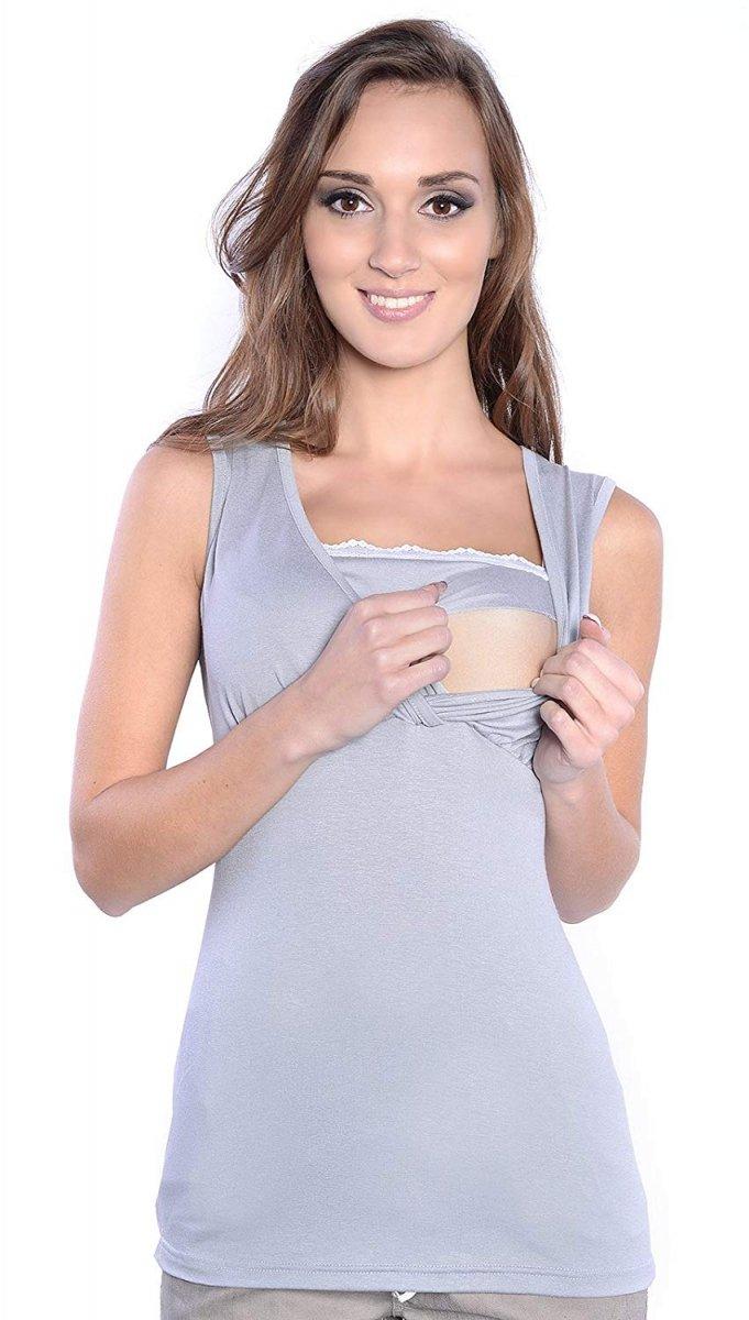 MijaCulture - top ciążowy i do karmienia z koronką  4032/M45 szary