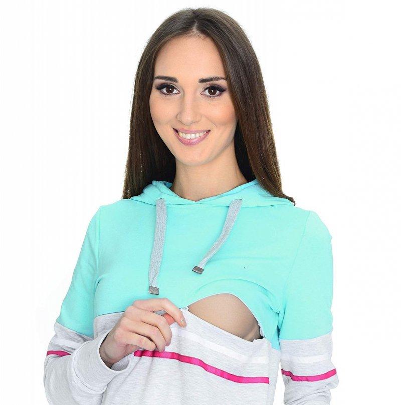 MijaCulture - 3 w 1 bluza ciążowa i do karmienia M72 4111 mięta/melanż