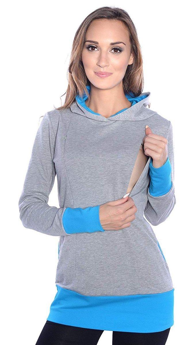 """MijaCulture – 3 w 1 bluza ciążowa i do karmienia """"Mona"""" 1035 melanż/turkus"""