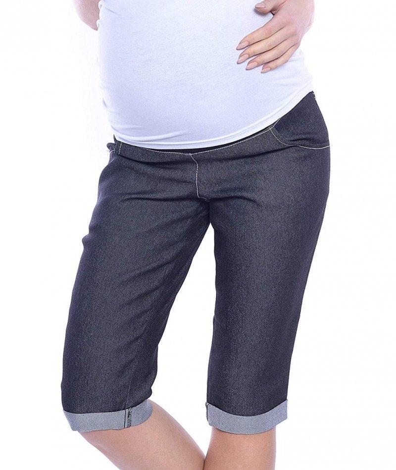 MijaCulture - spodnie rybaczki ciążowe 4015/M35  denim czarny