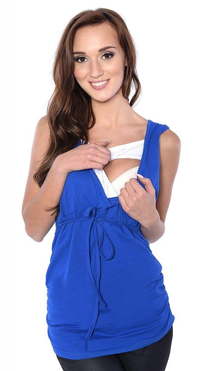 MijaCulture - bluzka 2 w 1 ciążowa i do karmienia M14/3092 niebieski