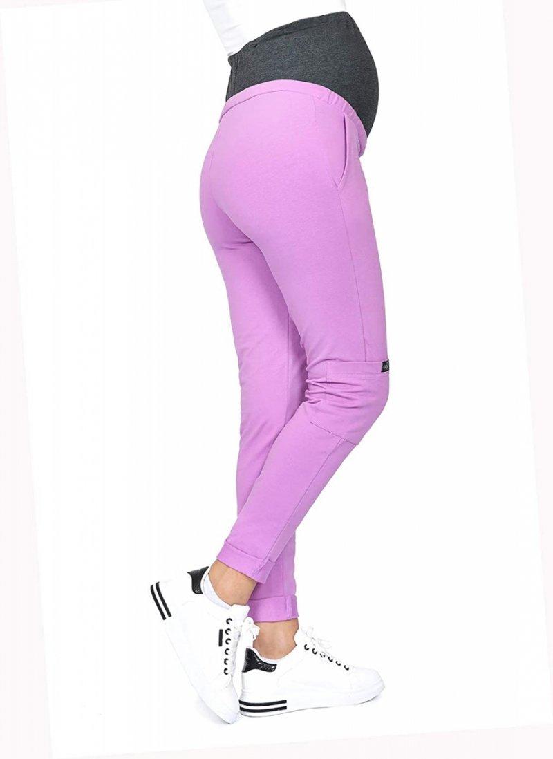MijaCulture Wygodne spodnie dresowe ciążowe ZOE M002 róż4