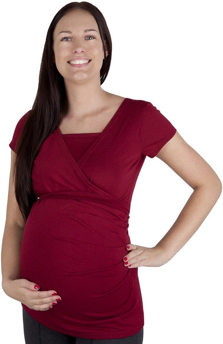 MijaCulture - bluzka z paskiem 2 w 1 ciążowa i do karmienia 4005/M17 bordo2