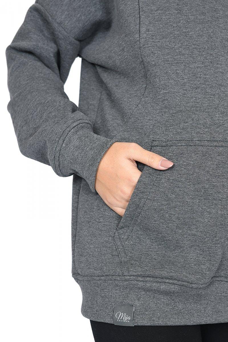 """MijaCulture - 3 w 1 ciepła bluza ciążowa i do karmienia z kapturem """"Molly """" M001 grafit"""