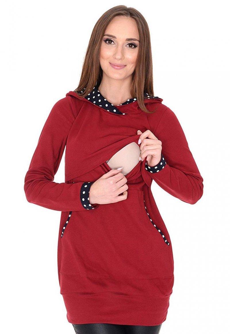 MijaCulture - 3 w1 bluza ciążowa i do karmienia z kapturem 3077/M07 bordo