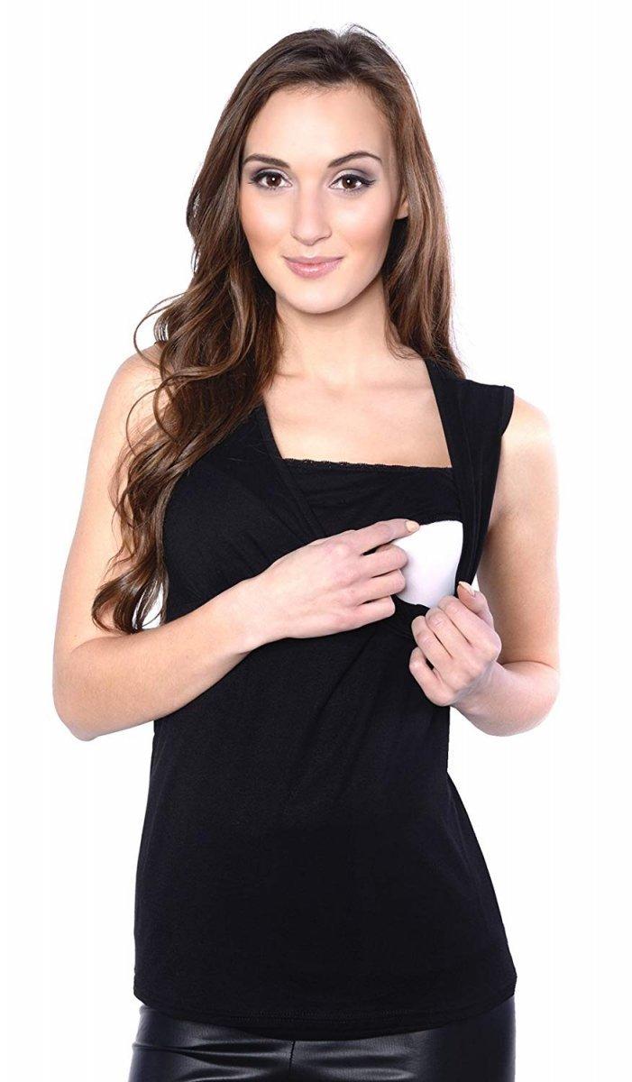 MijaCulture - top ciążowy i do karmienia z koronką  4032/M45 czarny