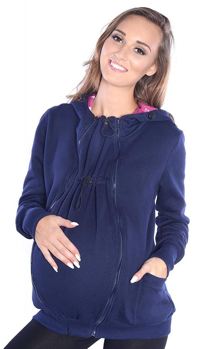 MijaCulture - 3 w1 bluza 3D ciążowa i do noszenia dziecka  4046/M50 ciemny granat