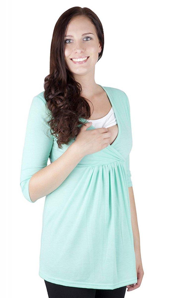 """MijaCulture - bluzka 2 w 1  ciążowa i do karmienia długi rękaw """"Dora II"""" 7103 mięta"""