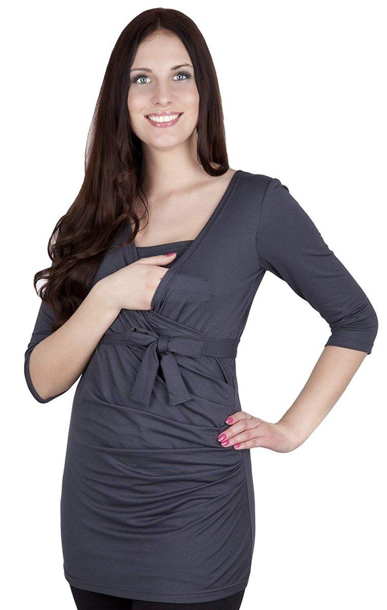 MijaCulture - bluzka z paskiem 2 w 1 ciążowa i do karmienia 4004/M23  grafit