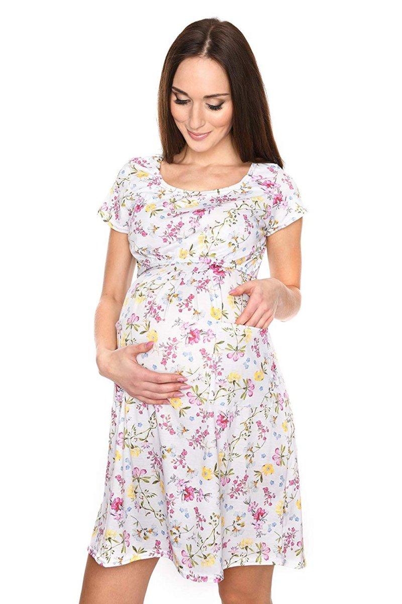 """MijaCulture - zjawiskowa sukienka 2 w 1 ciążowa i do karmienia """"Lulu"""" kwiaty"""