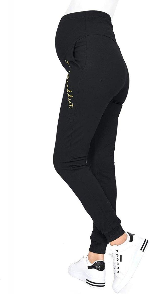 Wygodne ciążowe spodnie dresowe Chocolate Addict 9097 czarny3