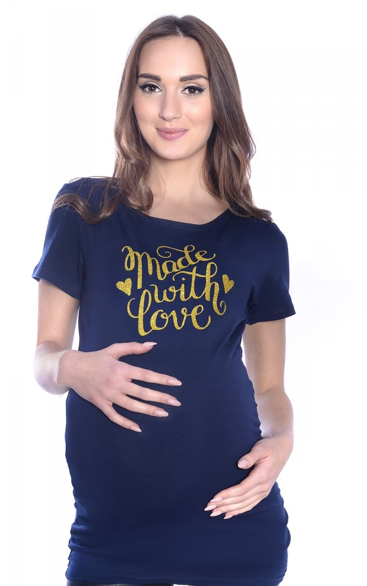 """Komfortowy  T-shirt """"Made with love"""" dla kobiet w ciąży 9080  granat"""