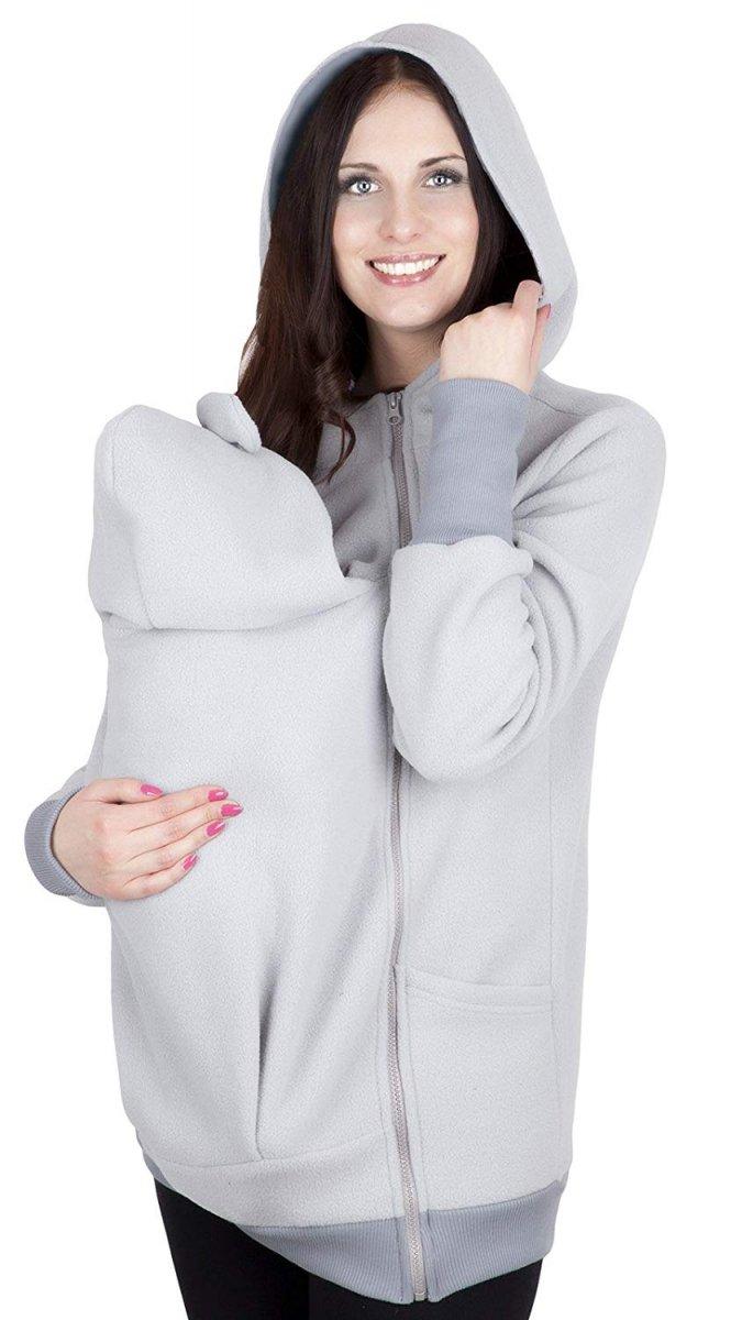 MijaCulture - bluza polarowa do noszenia dziecka 4019A/M21 jasny szary/szary