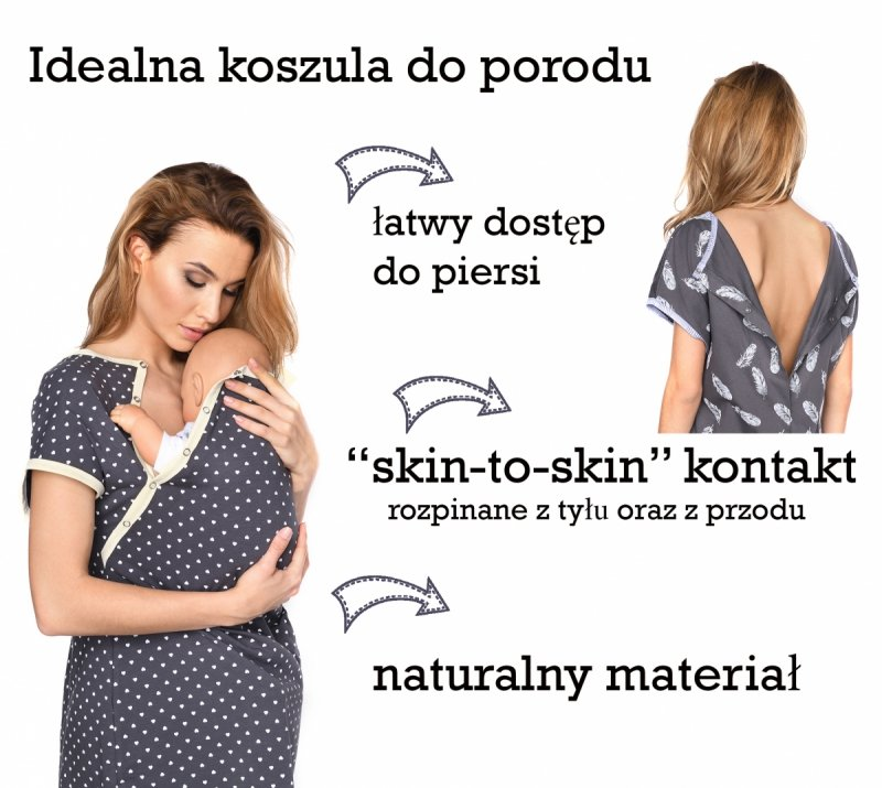 MijaCulture - koszula do porodu 4123 grafit/piórka 5