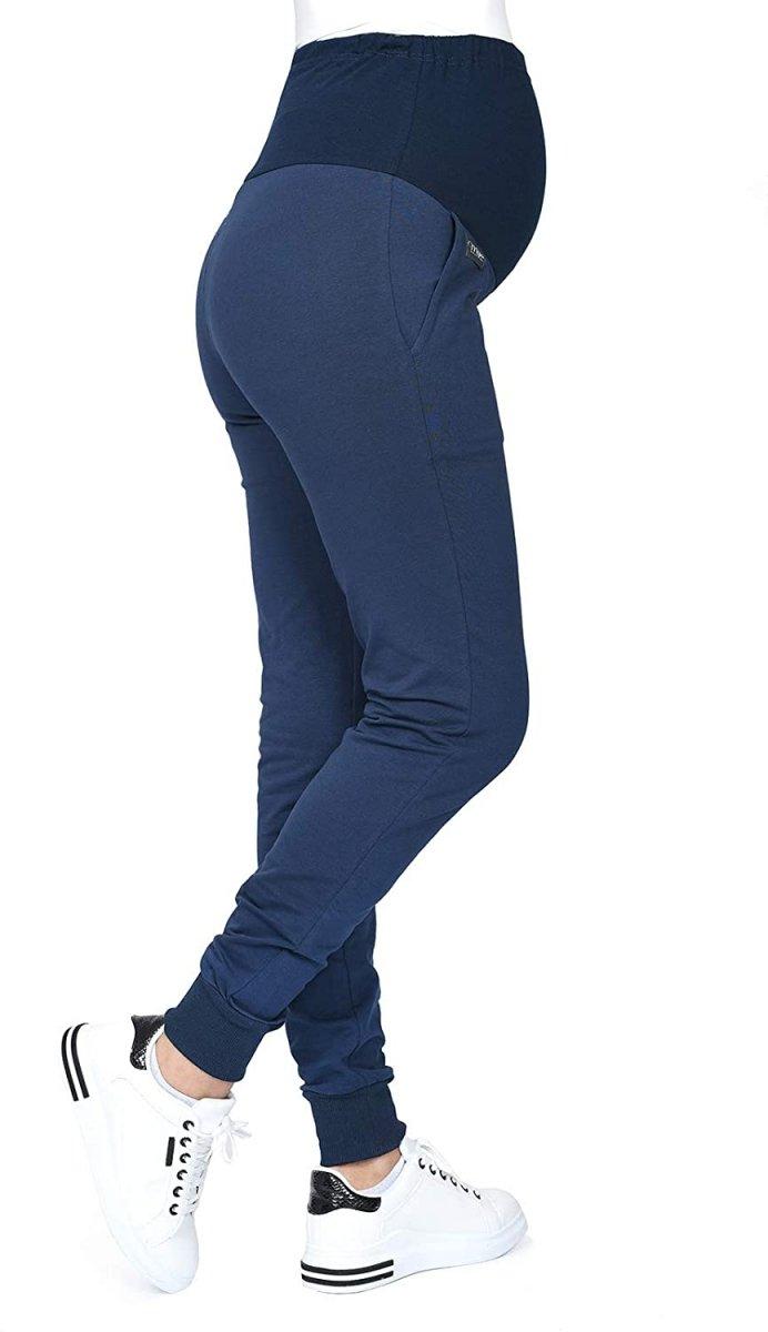 MijaCulture Wygodne spodnie dresowe ciążowe Coco M003 granat2