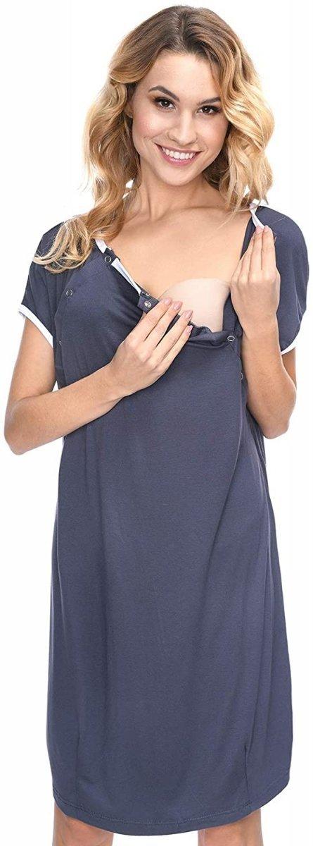 MijaCulture - koszula do porodu 4128 M92 grafit2