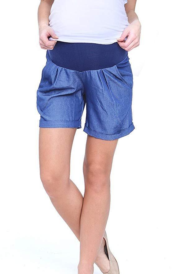 MijaCulture - cienkie szorty ciążowe 4074/M56 niebieski